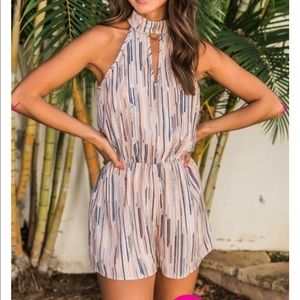 Pink and grey summer romper